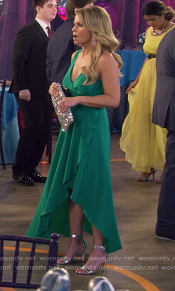 DJ's green high low wrap dress on Fuller House