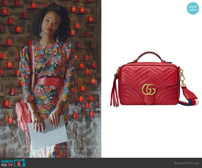 GG Marmont 2.0 Matelassé Camera Bag with Webbed Strap by Gucci worn by Monica Colby (Wakeema Hollis) on Dynasty