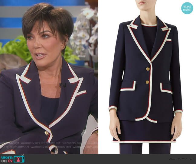 Peak Lapel Stretch Cady Blazer by Gucci worn by Kris Jenner (Kris Jenner) on Keeping Up with the Kardashians