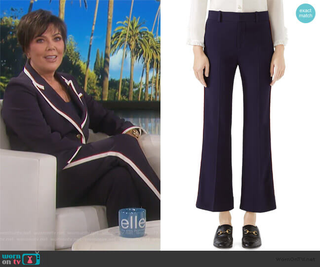 Side Stripe Stretch Cady Crop Flare Pants by Gucci worn by Kris Jenner (Kris Jenner) on Keeping Up with the Kardashians