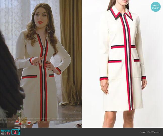 Classic Striped Day Dress by Gucci worn by Fallon Carrington (Elizabeth Gillies) on Dynasty