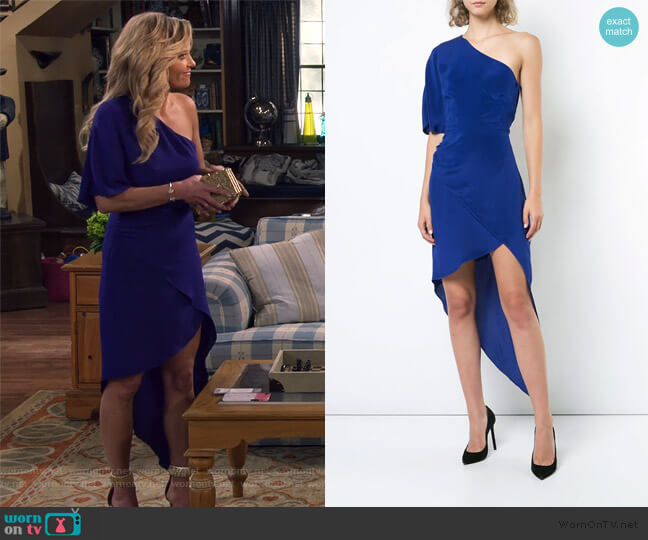 One-Shoulder Asymmetric Dress by Haney worn by DJ Tanner-Fuller (Candace Cameron Bure) on Fuller House