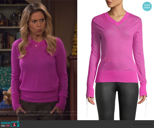 Tie-Cuff Sheer Cashmere V-Neck Sweater by Helmut Lang worn by DJ Tanner-Fuller (Candace Cameron Bure) on Fuller House