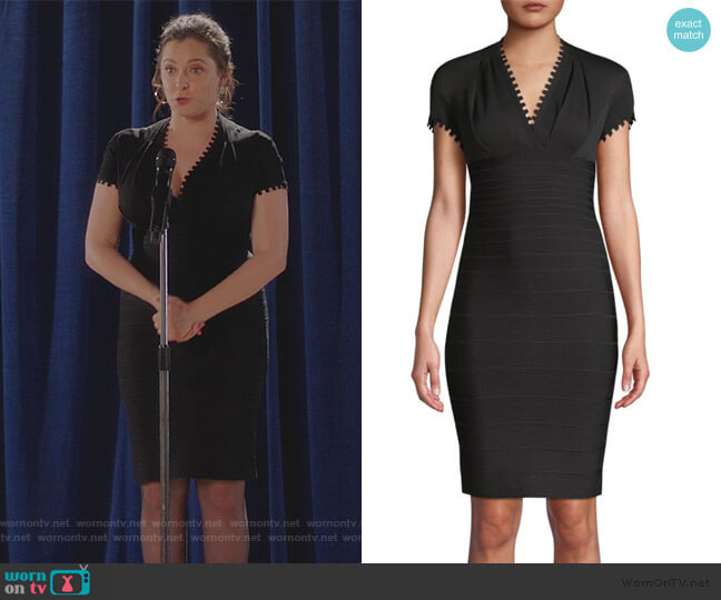Crepe Bandage Dress by Herve Leger worn by Rebecca Bunch (Rachel Bloom) on Crazy Ex-Girlfriend