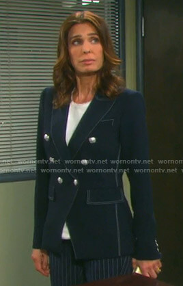 Hope's navy blazer with white stitching on Days of our Lives