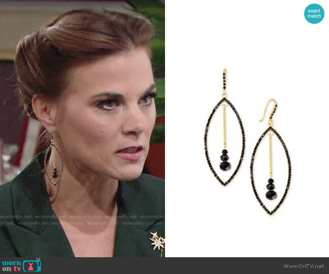 INC International Concepts Gold-Tone Stone Orbital Drop Earrings worn by Gina Tognoni on The Young & the Restless