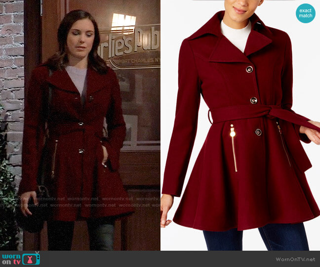 INC International Concepts Skirted Walker Coat worn by Willow Tait (Katelyn MacMullen) on General Hospital
