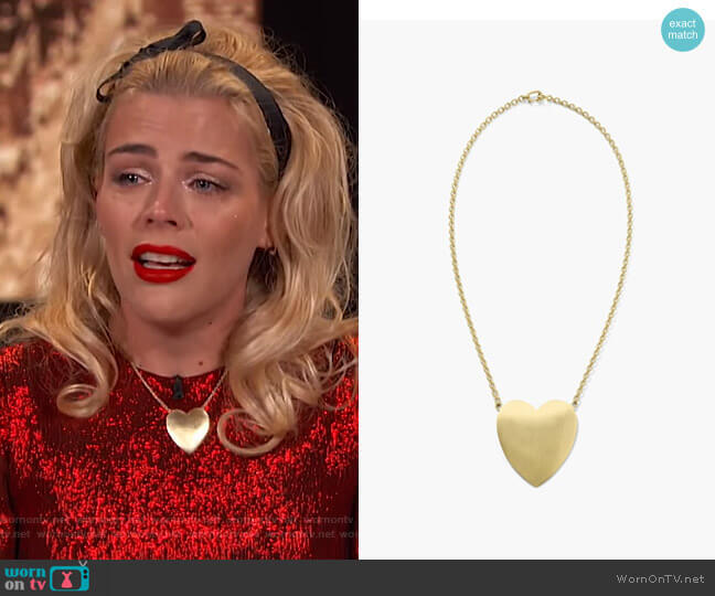 Extra Large Flat Heart Necklace by Irene Neuwirth worn by Busy Philipps  on Busy Tonight