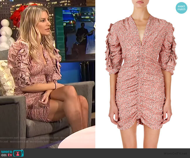 Andor Floral Ruched-Seam Mini Dress by Isabel Marant worn by Morgan Stewart  on E! News