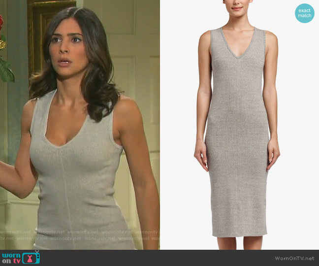 Contrast Binding Ribbed Dress by James Perse worn by Gabi Hernandez (Camila Banus) on Days of our Lives