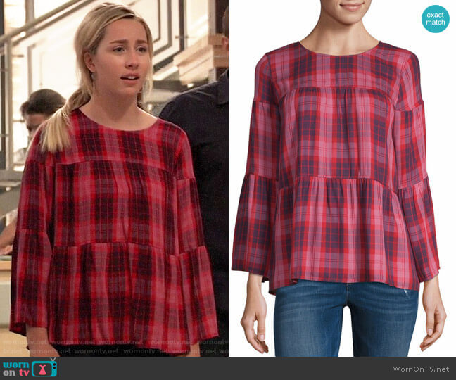 JCPenney a.n.a 3/4th Sleeve Round Neck Woven Blouse worn by Josslyn Jacks (Eden McCoy) on General Hospital