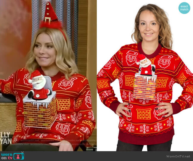 Jack in The Box Santa Claus Adult 3D Ugly Christmas Sweater by Ugly Christmas Sweater worn by Kelly Ripa  on Live with Kelly & Ryan