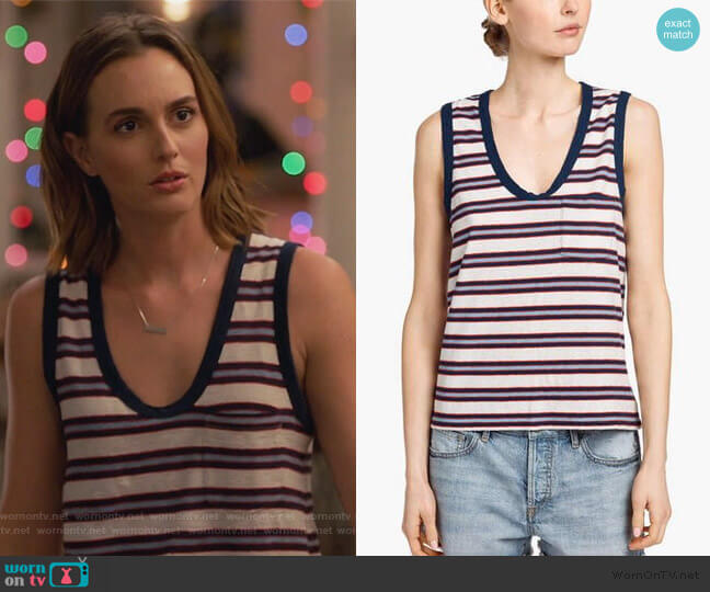 Stripe Muscle Tank by James Perse worn by Angie (Leighton Meester) on Single Parents