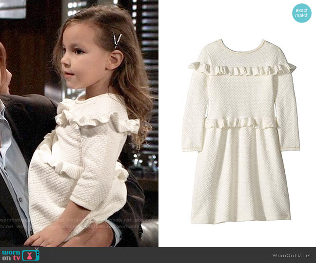 Janie and Jack Double Ruffle Sweater Dress worn by Avery on General Hospital