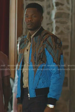 Jeff's blue marble print bomber jacket on Dynasty