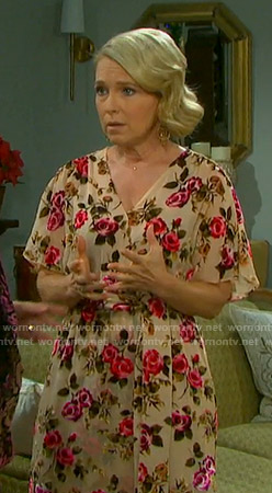 Jennifer's beige floral wrap dress on Days of our Lives