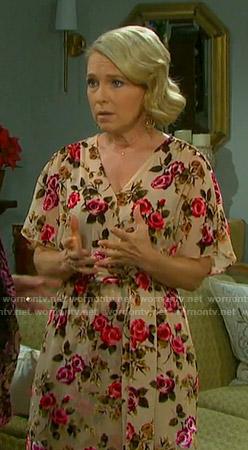 Jennifer's beige floral wrap dress on Days of our Lives