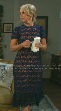 Jennifer's blue floral lace dress on Days of our Lives