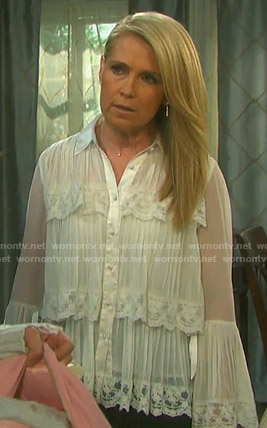 Jennifer's white pleated lace blouse on Days of our Lives