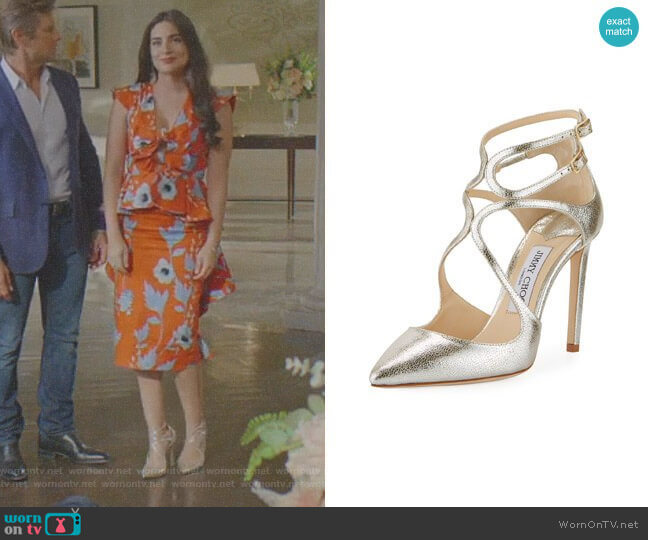 Lancer Metallic Leather Pumps by Jimmy Choo worn by Ana Brenda Contreras on Dynasty
