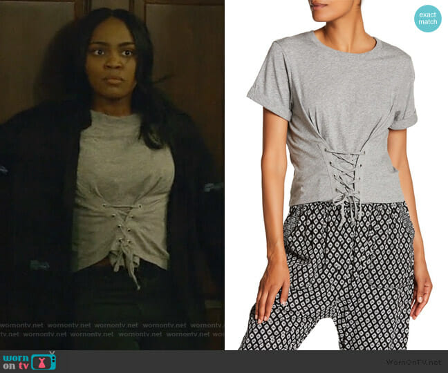 Lizeth Corset Lace-Up Tee by Joie worn by China Anne McClain on Black Lightning