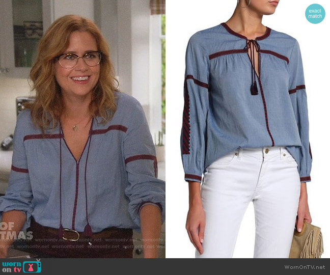 Marlen Blouse by Joie worn by Lena (Jenna Fischer) on Splitting Up Together