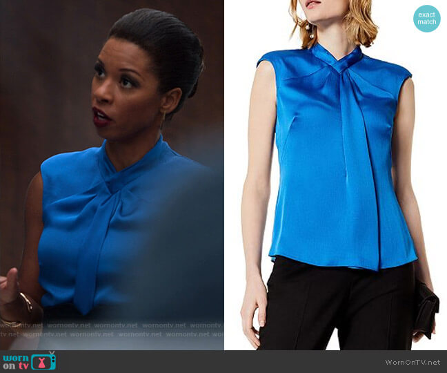 Draped Cap Sleeve Top by Karen Millen worn by Catherine Wilder (Angel Parker) on Marvels Runaways