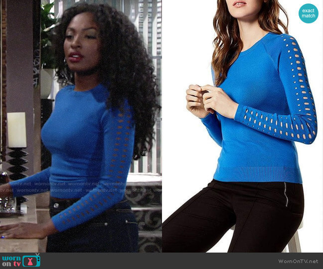 Karen Millen Laser-Cut Sweater worn by Ana Hamilton (Loren Lott) on The Young & the Restless