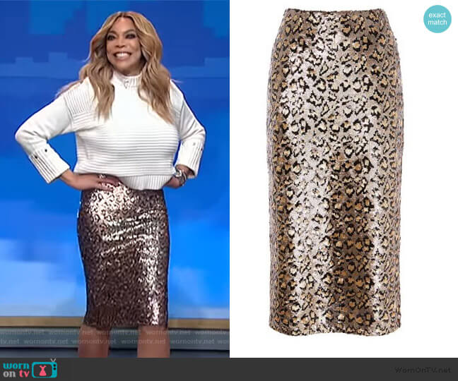 Sequin Leopard Midi Skirt by Karen Millen worn by Wendy Williams  on The Wendy Williams Show