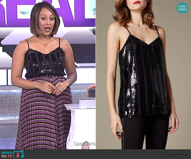 Sequin Stripe Cami Top by Karen Millen worn by Tamera Mowry  on The Real