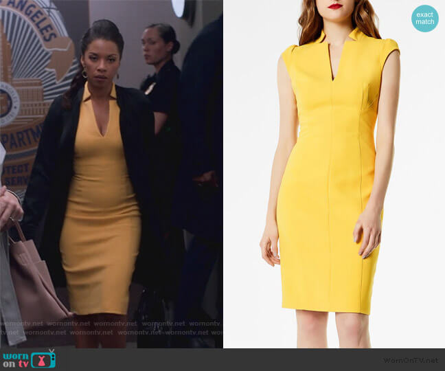 uff-Sleeve Sheath Dress by Karen Millen worn by Catherine Wilder (Angel Parker) on Marvels Runaways