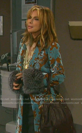 Kate's blue and brown velvet coat with fur cuffs on Days of our Lives