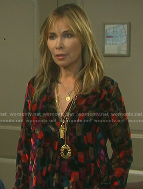 Kate's multicolor velvet blouse on Days of our Lives