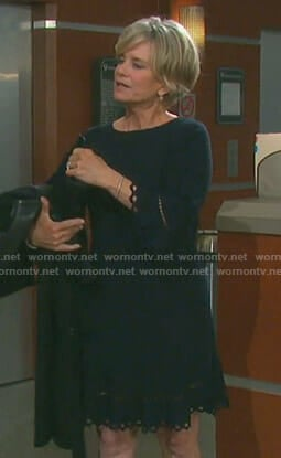 Kayla's black laser-cut dress on Days of our Lives