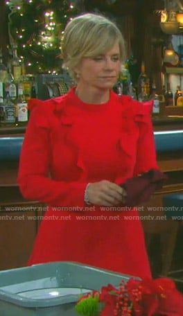 Kayla's red ruffled long sleeve dress on Days of our Lives