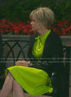 Kayla's yellow bib detail dress on Days of our Lives