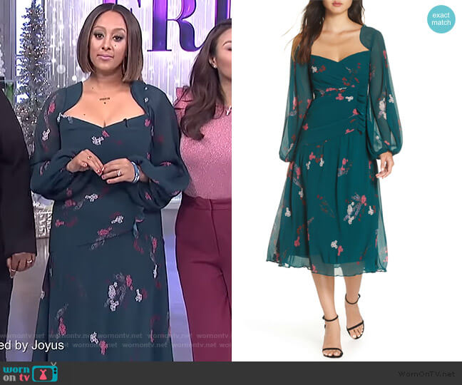 Night Fall Midi Dress by Keepsake worn by Tamera Mowry on The Real