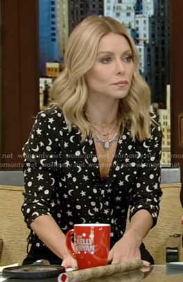 Kelly's black moon and star print blouse on Live with Kelly and Ryan