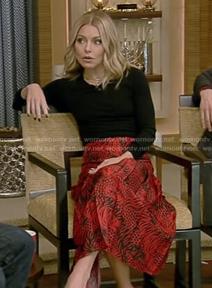 Kelly's red printed midi skirt on Live with Kelly and Ryan