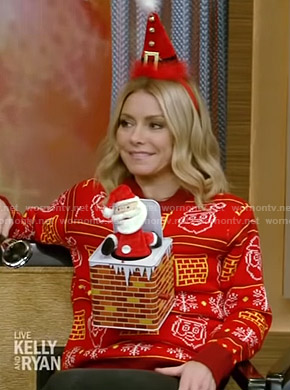 Kelly's red Santa Claus ugly christmas sweater on Live with Kelly and Ryan