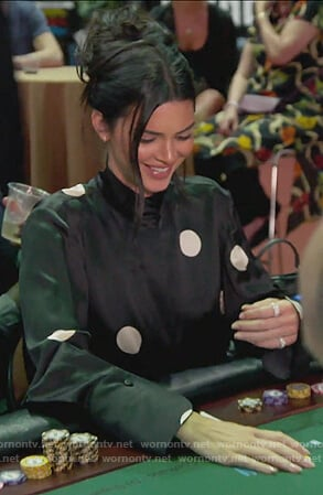Kendall's black satin polka dot blouse on Keeping Up with the Kardashians