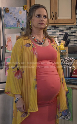 Kimmy's yellow floral striped kimono on Fuller House