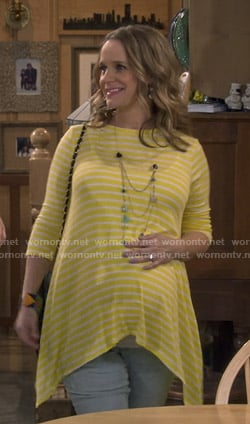 Kimmy's yellow striped maternity top on Fuller House