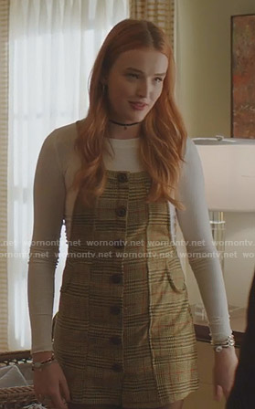 Kirby's beige plaid pinafore dress on Dynasty
