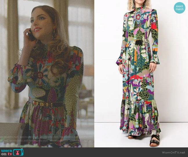 Floral Print Dress by La Doublej worn by Fallon Carrington (Elizabeth Gillies) on Dynasty