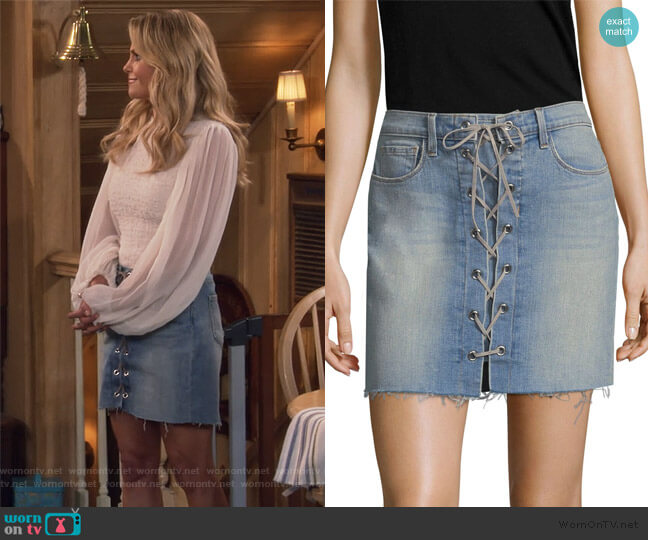 Portia Lace-Up Mini Skirt by L'Agence worn by DJ Tanner-Fuller (Candace Cameron Bure) on Fuller House