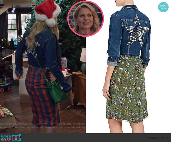 Zuma Studded Denim Crop Jacket by L'Agence worn by DJ Tanner-Fuller (Candace Cameron Bure) on Fuller House