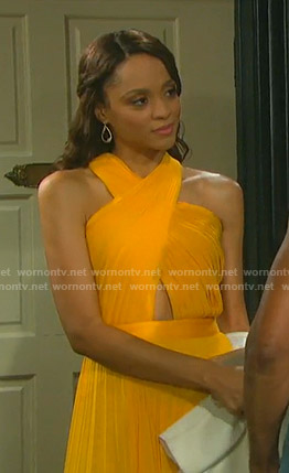 Lani's yellow pleated halter neck dress on Days of our Lives