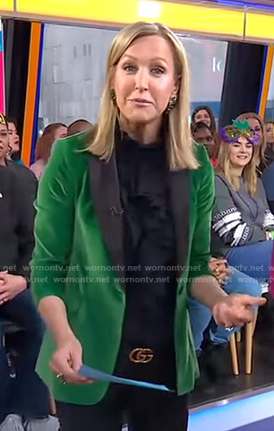 Lara's green velvet blazer on Good Morning America