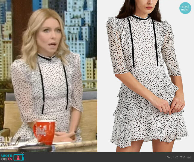 Feroline Dot-Pattern Silk Dress by Laura Garcia worn by Kelly Ripa  on Live with Kelly & Ryan